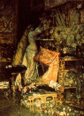 Dama adornando un altar | Antonio Munoz Degrain | oil painting