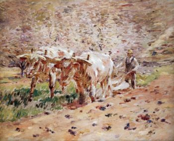 Oxen Ploughing | Theodore Robinson | oil painting