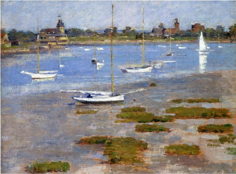 Low Tide The Riverside Yacht Club | Theodore Robinson | oil painting