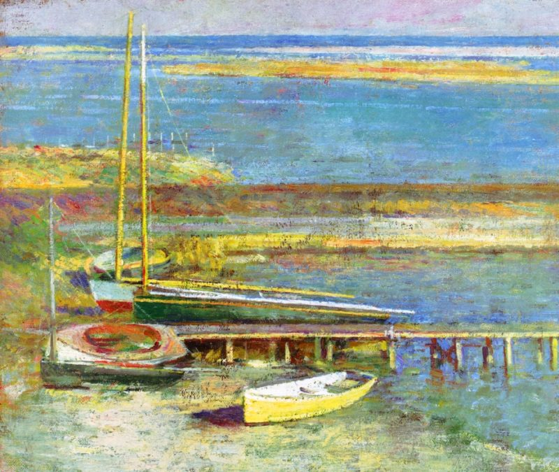 Boats at a Landing | Theodore Robinson | oil painting