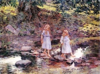 Stepping Stones | Theodore Robinson | oil painting