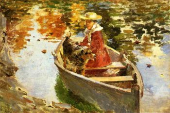 Miss Motes and Her Dog Shep | Theodore Robinson | oil painting