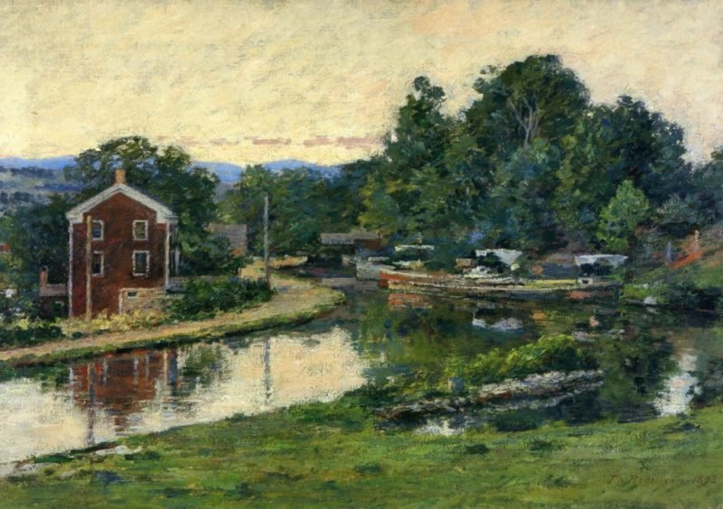 Evening at the Lock   Theodore Robinson   oil painting