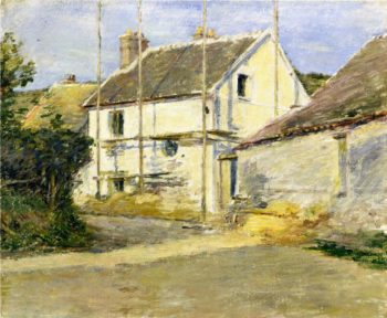 House with Scaffolding | Theodore Robinson | oil painting