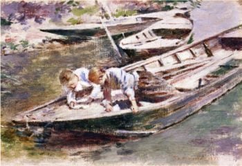 Two in a Boat | Theodore Robinson | oil painting