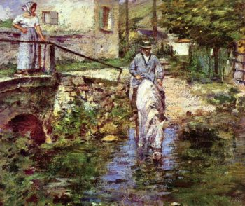 Pere Trognon and His Daughter at the Bridge | Theodore Robinson | oil painting