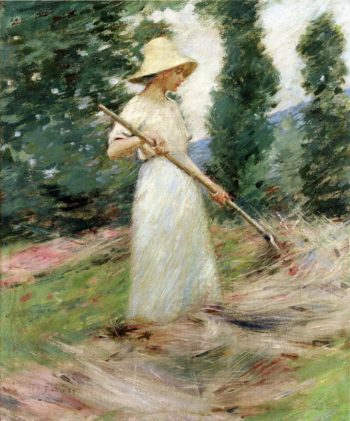 Girl Raking Hay | Theodore Robinson | oil painting
