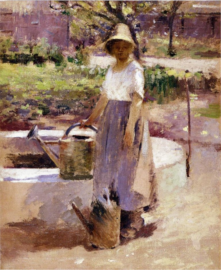 At the Fountain | Theodore Robinson | oil painting