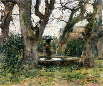 Italian Landscape with a Fountain | Theodore Robinson | oil painting