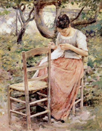 Girl Sewing | Theodore Robinson | oil painting