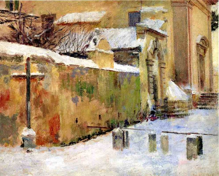 Church in Snow | Theodore Robinson | oil painting