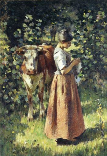 The Cowherd | Theodore Robinson | oil painting