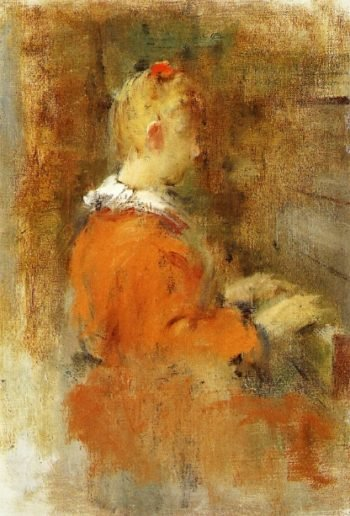 Girl in Red at the Piano | Theodore Robinson | oil painting