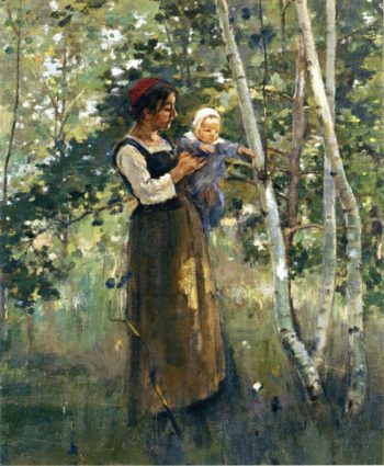Mother and Child by the Hearth | Theodore Robinson | oil painting