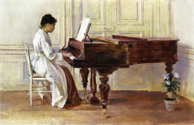 At the Piano | Theodore Robinson | oil painting