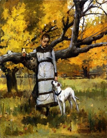 Young Girl with Dog | Theodore Robinson | oil painting