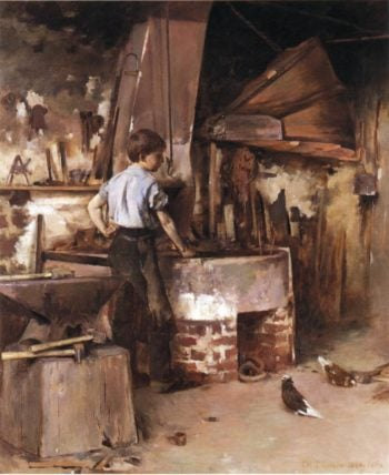 The Apprentice Blacksmith | Theodore Robinson | oil painting