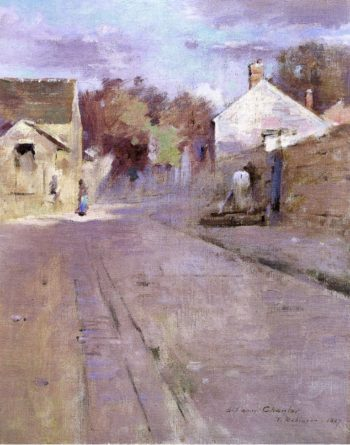 Street in Barbizon at Sunset | Theodore Robinson | oil painting
