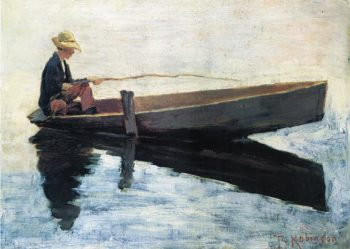 Boy in a Boat Fishing | Theodore Robinson | oil painting