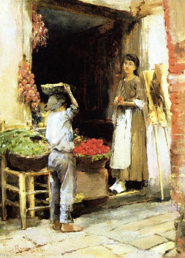 Venetian Fruit Shop | Theodore Robinson | oil painting