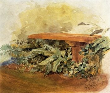 Garden Bench with Ferns | Theodore Robinson | oil painting
