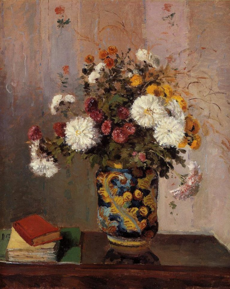 Bouquet of Flowers Chrysanthemums in a China Vase | Theodore Robinson | oil painting