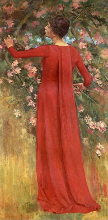The Red Gown | Theodore Robinson | oil painting