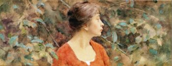 Lady in Red | Theodore Robinson | oil painting