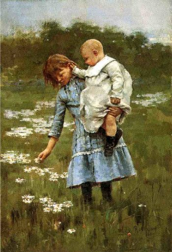 In a Daisy Field | Theodore Robinson | oil painting