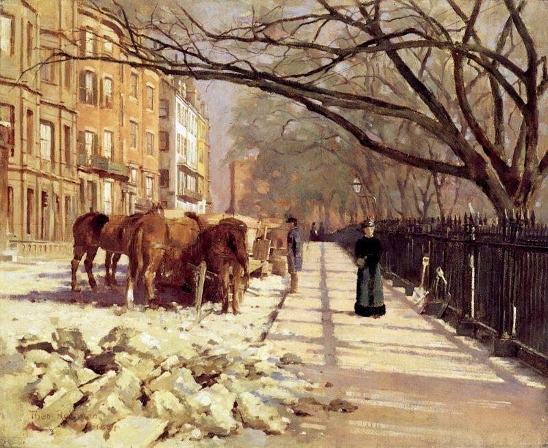 Beacon Street Boston   Theodore Robinson   oil painting