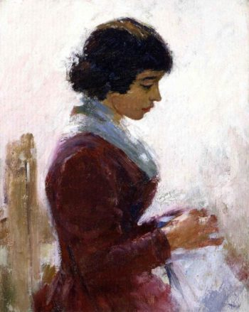 Girl in Red Sewing | Theodore Robinson | oil painting