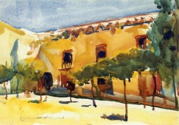 Court of the Oranges Sevilla   Charles W Hawthorne   oil painting