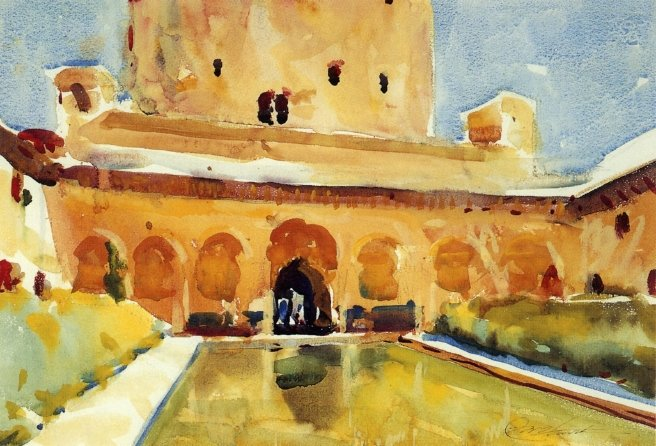 Court of the Myrtles Alhambra | Charles W Hawthorne | oil painting