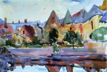 Azay le Rideau   Charles W Hawthorne   oil painting