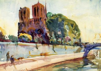 Notre Dame Cathedral Paris | Charles W Hawthorne | oil painting