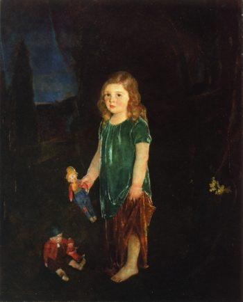 Girl with Dolls   Charles W Hawthorne   oil painting
