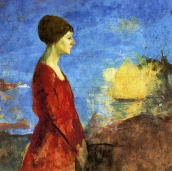 Early Moonrise Portrait of Miss Wilson   Charles W Hawthorne   oil painting