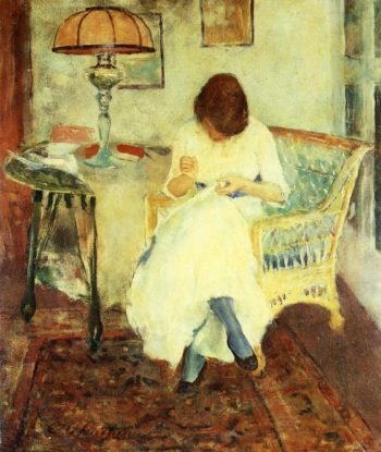 Girl Sewing   Charles W Hawthorne   oil painting