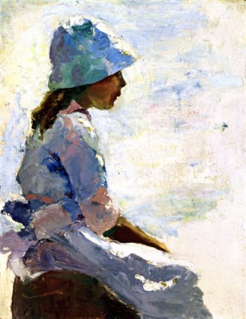 At the Seaside   Charles W Hawthorne   oil painting