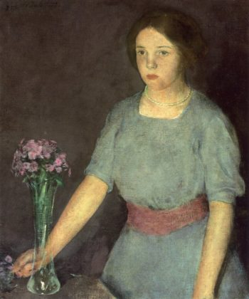 Girl with Vase   Charles W Hawthorne   oil painting