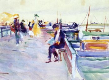 Figures on a Pier   Charles W Hawthorne   oil painting