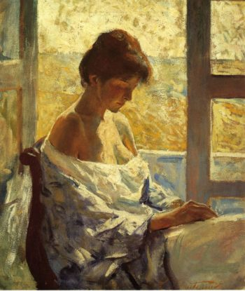 By the Window   Charles W Hawthorne   oil painting