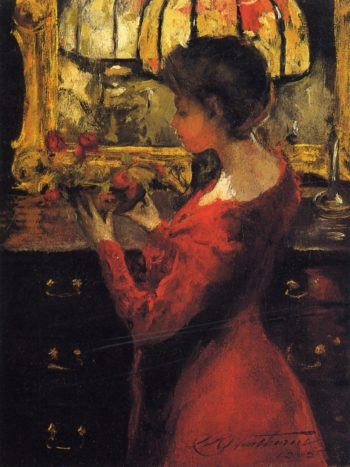 Crimson Roses   Charles W Hawthorne   oil painting