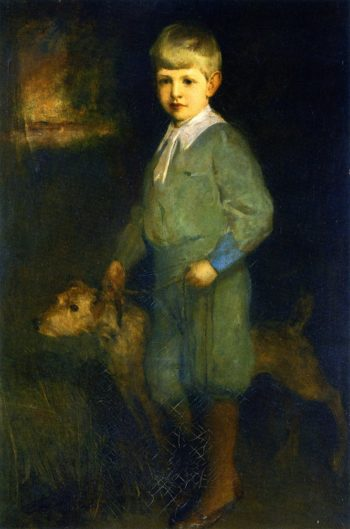 Boy with His Dog   Charles W Hawthorne   oil painting