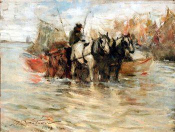 Hauling Seaweed   Charles W Hawthorne   oil painting