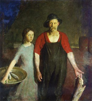 Fisherman and his Daughter   Charles W Hawthorne   oil painting