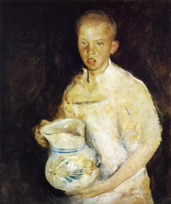 Boy with Pitcher   Charles W Hawthorne   oil painting
