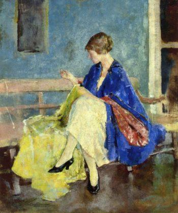 Blue Kimono   Charles W Hawthorne   oil painting