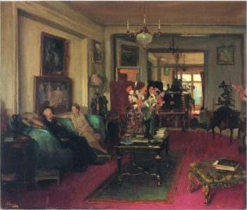 A Salon Lady Cunard and John Moore | Sir John Lavery | oil painting