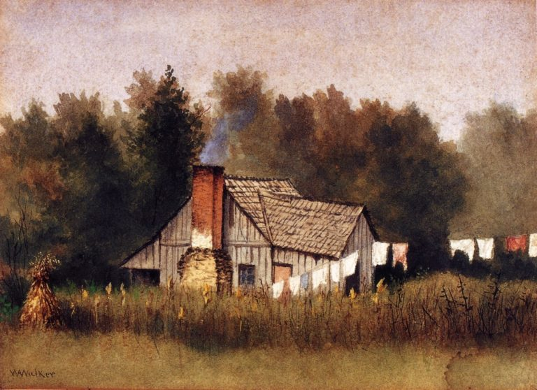 Cabin Viewed from Rear with Wash Line | William Aiken Walker | oil painting